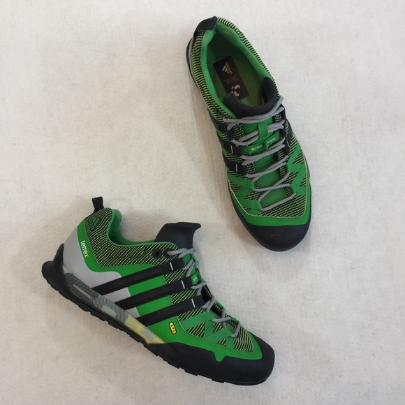 look for new styles lower price with adidas Terrex Solo Approach Shoes in green & black